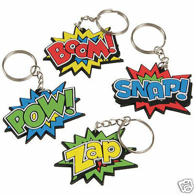12 Superhero Key Chains Kid Party Goody Loot Bag Treat Filler Favor Supply - Superhero Goodie Bags