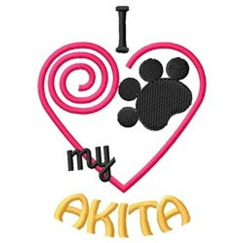 I Heart My Akita Ladies Short-Sleeved T-Shirt 1427-2 Size S-XXL