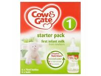 2 boxes of cow and gate starter packs. UNOPENED IN BOXES