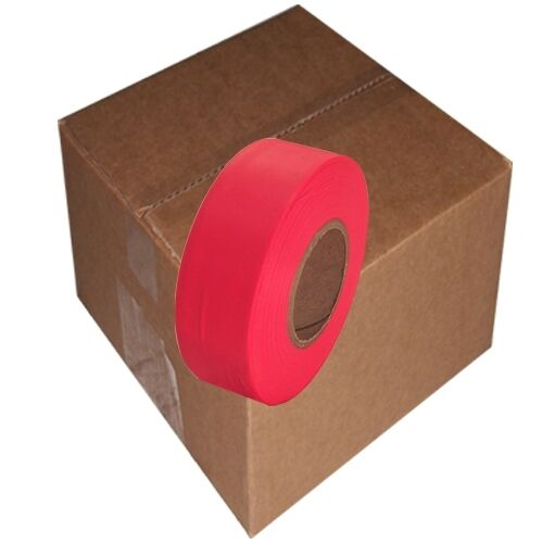 """Fluorescent Red Flagging Tape 1 3/16"""" x 150 ft Roll Non-Adhesive (12 Roll/Case)"""