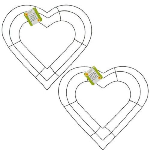 """Lot 2 13.5""""x12.5"""" Heart shape metal wire wreath frame floral craft decor  NWT"""