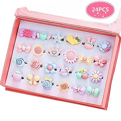 Little Girl Jewel Rings in Box set, Adjustable, for girl Play and Dress Up Rings