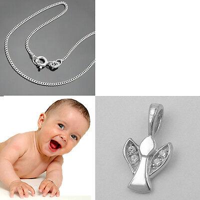 Baby Taufkette Schutz Engel mit Zirkonia Steinen im Flügel und Kette Silber (Baby Engel Mit Flügeln)