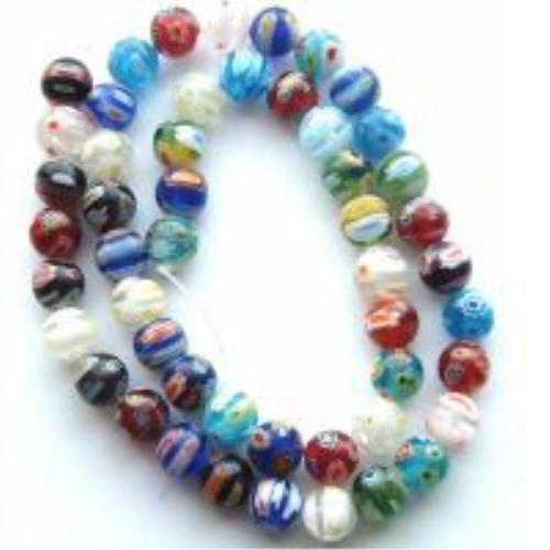 M8-6mm Millefiori Lampwork Beads, Multi Many Flowers