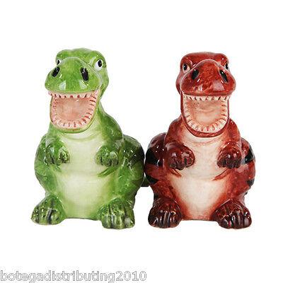 Ceramic Dinosaurs Salt and Pepper Shaker Set  Magnetic Saleros Home Decor