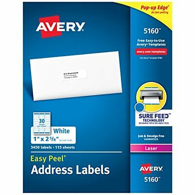 2880 Labels Of Avery 5160 Easy Peel White Address Labels Laser Printers