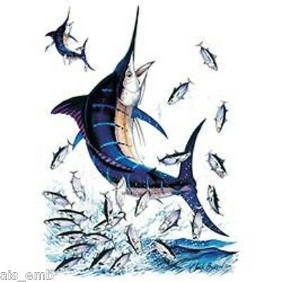 Blue Marlin Fishing Heat Press Transfer Print For T Shirt Sweatshirt Fabric 248a