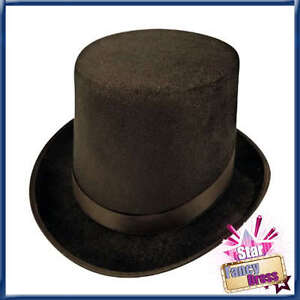BLACK TOP HAT MAGICIANS, VICTORIAN, RINGMASTER, BURLESQUE, LINCOLN HAT VELOUR