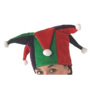 Tudor-style-court-jester-hat-purple-red-and-green-Christmas-costume-character