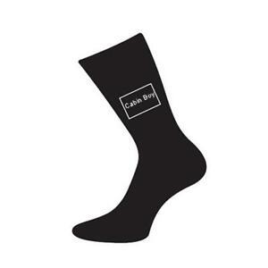 Mens-5-12-Black-Cotton-Socks-Nautical-Themed-Cabin-Boy-Sailor-Sailling