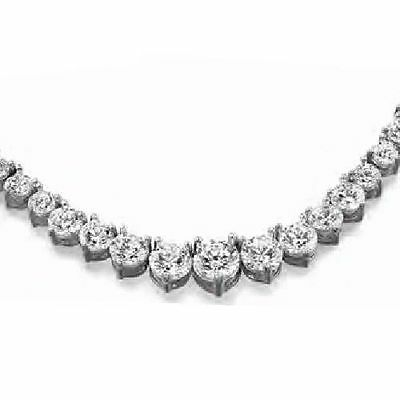 18.10 ct Round Diamond Tennis Necklace, 0.90 ct center GIA 14k White Gold