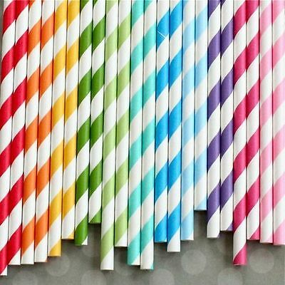 25 x Retro Vintage Stripe / Polka Dot / Love Heart Paper Drinking Straws - New