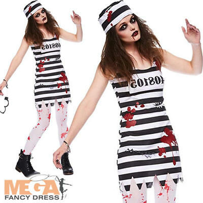 Zombie Convict Ladies Fancy Dress Halloween Prisoner Womens Adult Costume Outfit