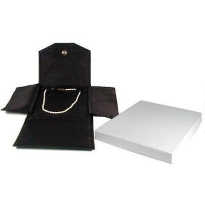 Black Leather Satin Necklace Jewelry Travel Folder Display Case New Free Shipp