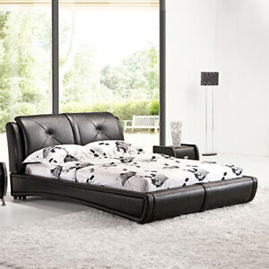 Mila King Size Faux Leather Bed Frame Black