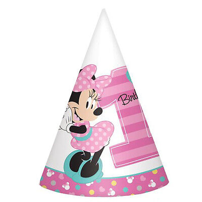 MINNIE MOUSE Fun to Be One CONE HATS (8) ~ 1st Birthday Party Supplies Paper - Minnie Mouse Birthday Hats