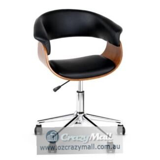 360 Degree Swivel Chrome Base PU Leather Curved Office Chair