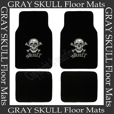 4 PCS GREY SKULL FLOOR MATS FOR CAR / SUV / TRUCK  BEST QUALITY