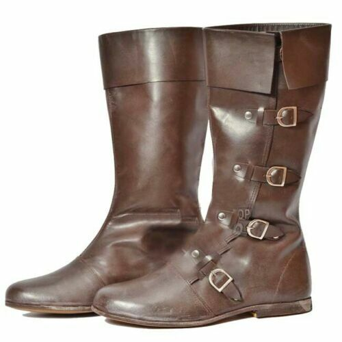 Medieval Leather Boots Renaissance Viking Pirate Shoe Brown Size 10 Pure Leather