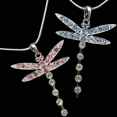 Dragonfly Pendant Necklace Austrian Crystal Costume Jewelry Chain Charm 16