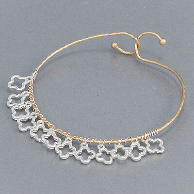 Bangle Silver Designer Bracelets - Silver Hammered Gold Designer Quatrefoil Charms Bohemian Bangle Bracelet