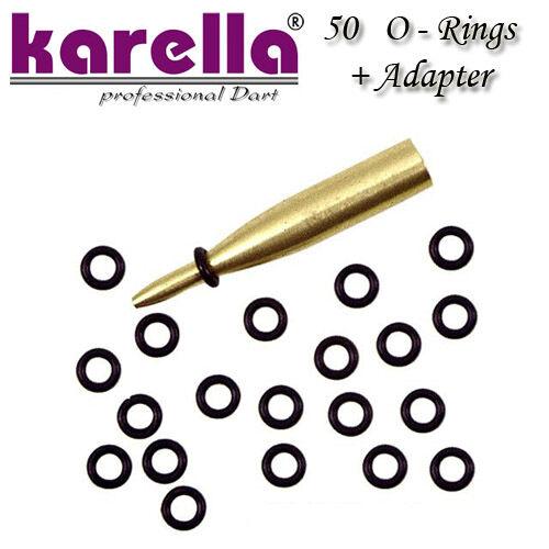 50 KARELLA O Rings Gummiringe + Adapter für Dartschäfte Dartzubehör Dartartikel