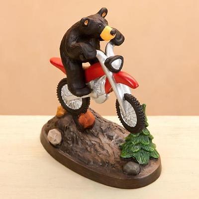 Jeff Fleming Bearfoots Dirt Bike Bear Figurine by Big Sky Carvers B5080047 New
