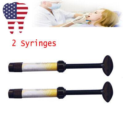 2x Dental Teeth Temporary Light Curing Filling Material Resin Syringe Tool Usa
