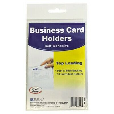 Self-adhesive Business Card Holders Top Load Clear 10 Per Pack Cli70257