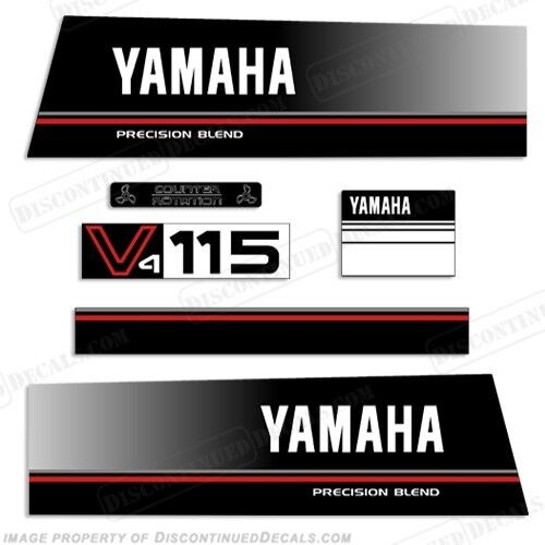 Yamaha 115hp v4 precision blend outboard engine decal kit for Custom outboard motor decals