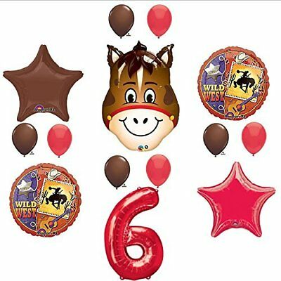 Wild West Cowboy Western 6th Birthday Party Supplies and Balloon Decorations - Cowboy Birthday Party Supplies