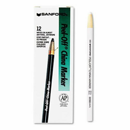 Sharpie Peel-Off China Markers, White, 12 China Markers (SAN2060)