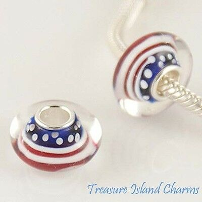 USA AMERICAN FLAG MURANO GLASS .925 Sterling Silver EUROPEAN Bead Charm