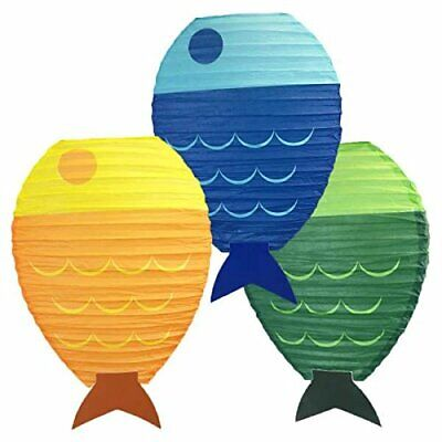 Just Artifacts 12inch Fish Shaped Hanging Paper Lanterns (Set of 3) - Fish Paper Lanterns