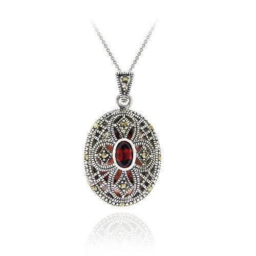 Silver Garnet Necklace Ebay