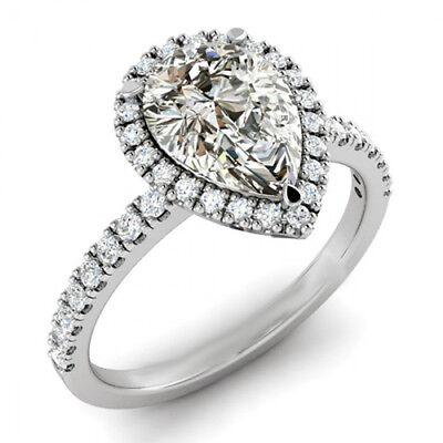 GIA Certified Pear Shape Diamond Engagement Ring 2.01 Carat 18k White Gold