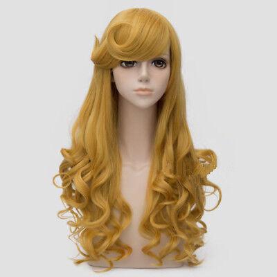 For Cosplay Princess Aurora Long Golden Yellow Curly Hair Women Wig - Princess Wig