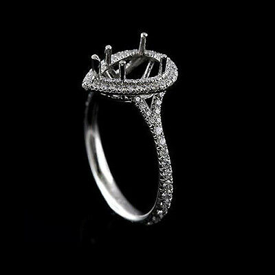 Pear Shape Diamond Cut Down Micro Pave Platinum Engagement Ring Mounting ()
