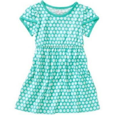 c6955f989 New Girls Toddler baby Spring summer dress white teal polka dots Cotton 24  Month