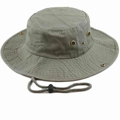Mens Boonie Bucket Wild Brim Hat 100% Cotton Olive Military Safari Camping Cap  Boonie Hat Olive