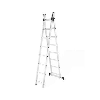 Escalera profesional multiusos doble y extensible 2 x 8 peldaños de aluminio