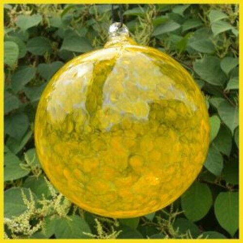 "Hanging Glass Ball 8"" Diameter Yellow Specks Friendship Ball (1) #31"