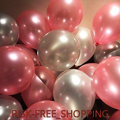 Pink Silver Pearl Metallic Shinning Balloons Valentines Love Wedding baloons new (Pink Baloons)
