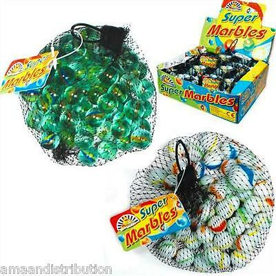 100 CATS-EYE & MILKY MARBLES 2 BAGS OF 49 MARBLES & 2 SHOOTERS TRADITIONAL GAME