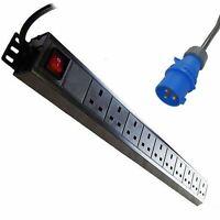 1u 10-way Vertical Uk 13a Switched Pdu With 16 Amp Commando Plug - lms data - ebay.co.uk