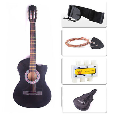 Electric Acoustic Guitar Cutaway Design With Guitar Case, Strap, Tuner Black New Black Cutaway Acoustic Guitar