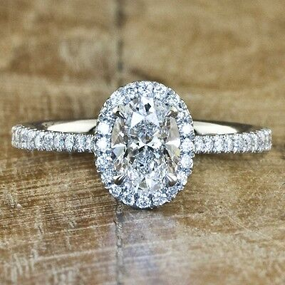 GIA Certified 1.60 Ct. Halo Oval Cut Diamond Engagement Ring Pave F, VS1 14K WG
