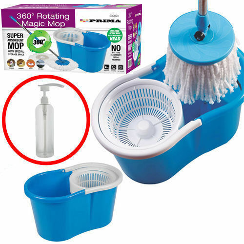 360° ROTATING MAGIC MOP + 2 MICROFIBER CLEANING HEADS 360° SPINNING MOP + BUCKET