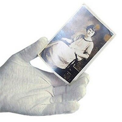 4 Pair White Inspection 100 Cotton Lisle Gloves Theater Coin Jewelry Photos -lg