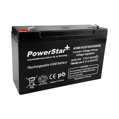 PowerStar 6V 10Ah AGM SLA Battery replaces Interstate SLA095